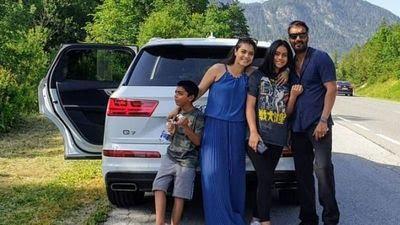 <p>पत्नी काजोल और बच्चों के साथ अजय देवगन।</p>